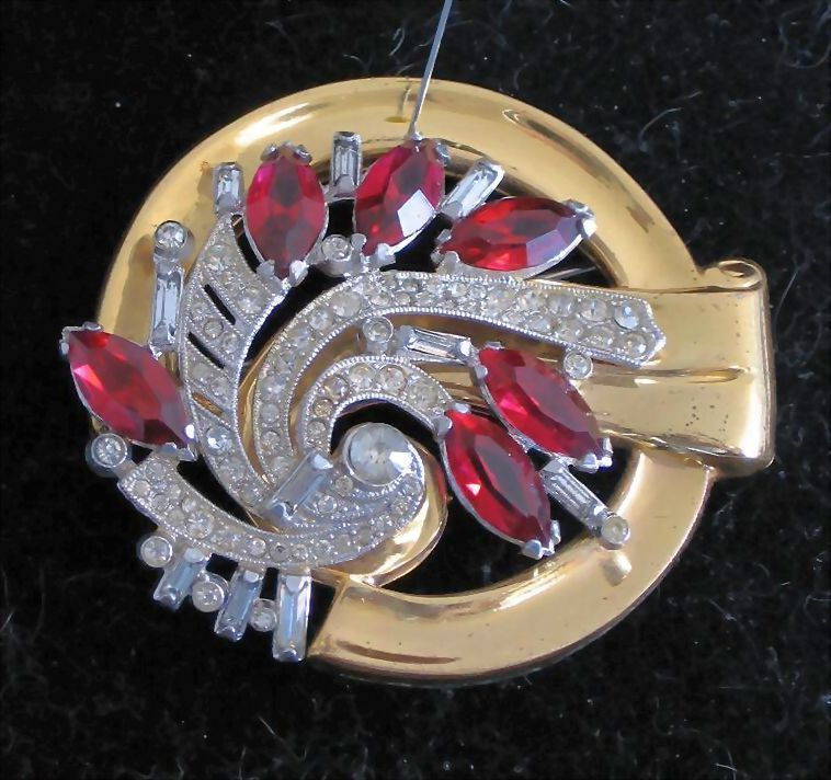 McClelland Barclay Ruby Red Marquise Cut Glass Brooch
