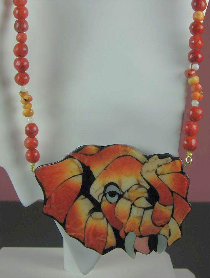 Karla Jordon Designer Coral Elephant with Imitation Pearls