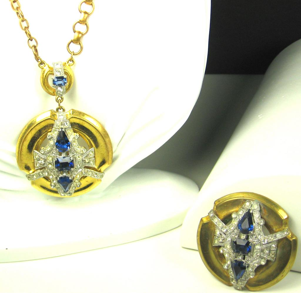 McClelland Barclay Sapphire Gemstone Necklace and Brooch