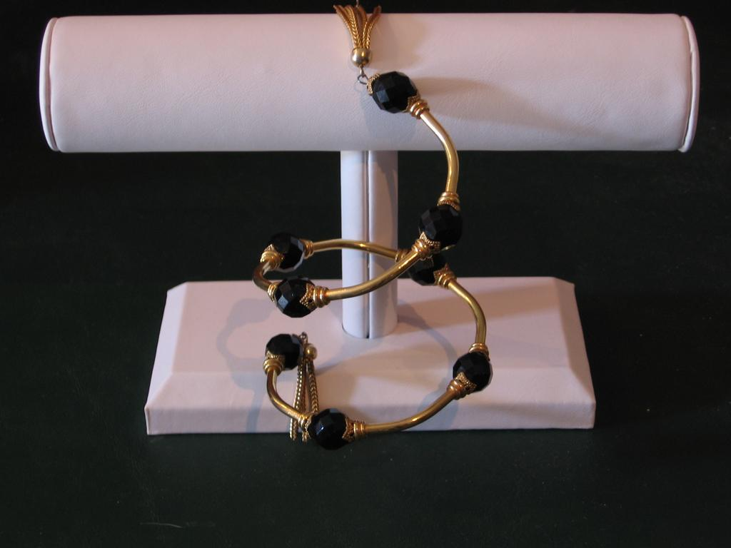 Black Glass Gold Tone Metal Wrapping Cuff Bracelet