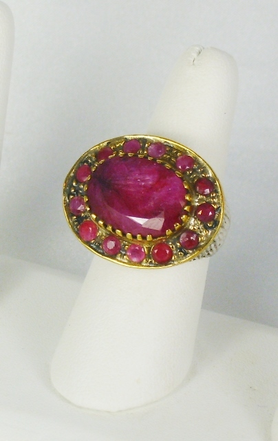 Vintage Sterling Silver, 18kt Gold, and Untreated Ruby Ring