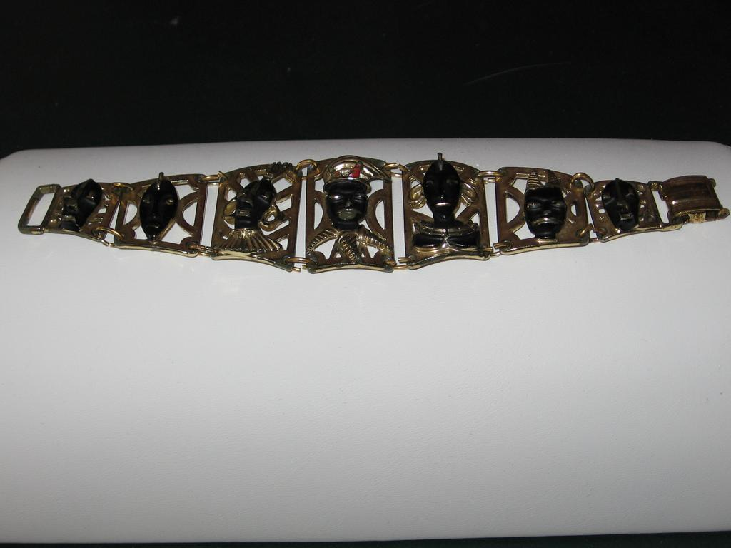Brass Metal and African Face Blackamoor Enamel Bracelet