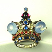 Vintage 1940s Trifari Sterling Royal Patriotic Crown Pin