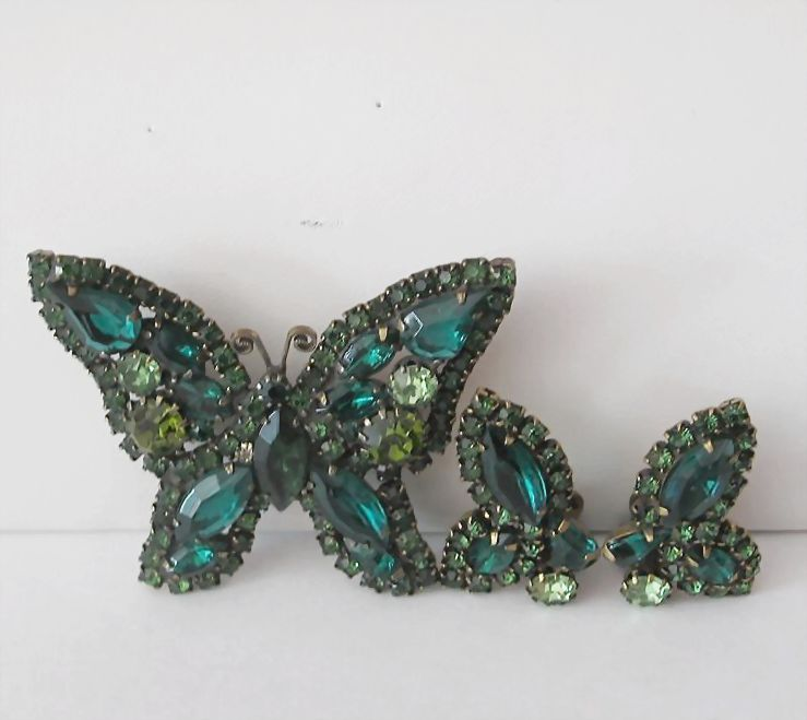 Vintage Weiss Butterfly Pin and Earrings Set