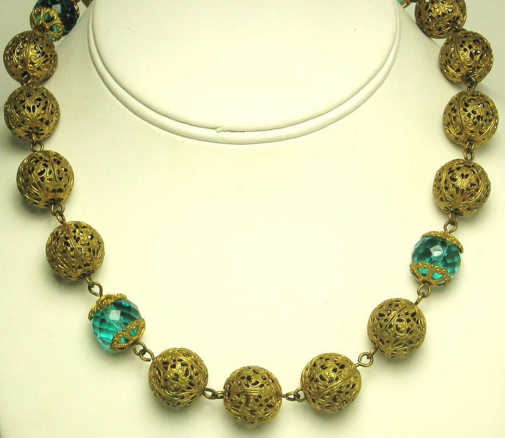 French Aquamarine Crystal and Filigree Ball Necklace
