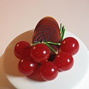 Vintage Bakelite Log and Six Red Cherries Pin