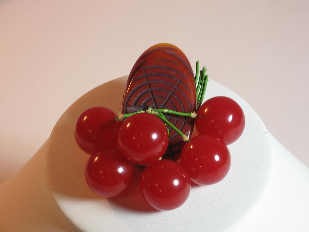 Vintage Bakelite Log and Six Red Cherries Pin