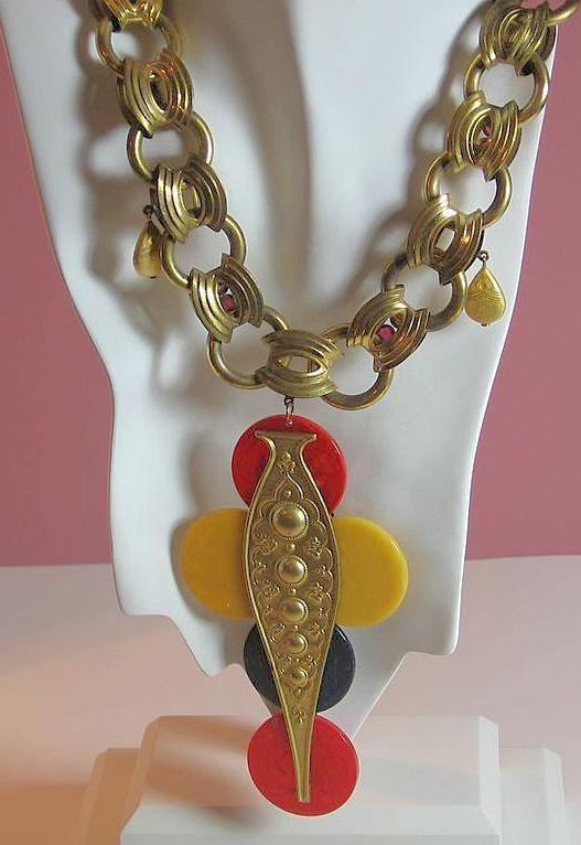 Vintage Art Deco French Bakelite Cross Medallion Necklace