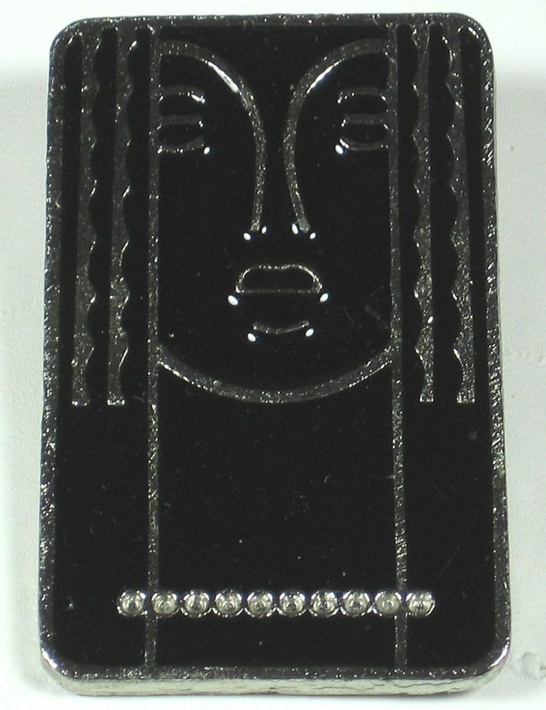 Vintage Black Enamel Over Pewter Metal Face Pin by Ritz