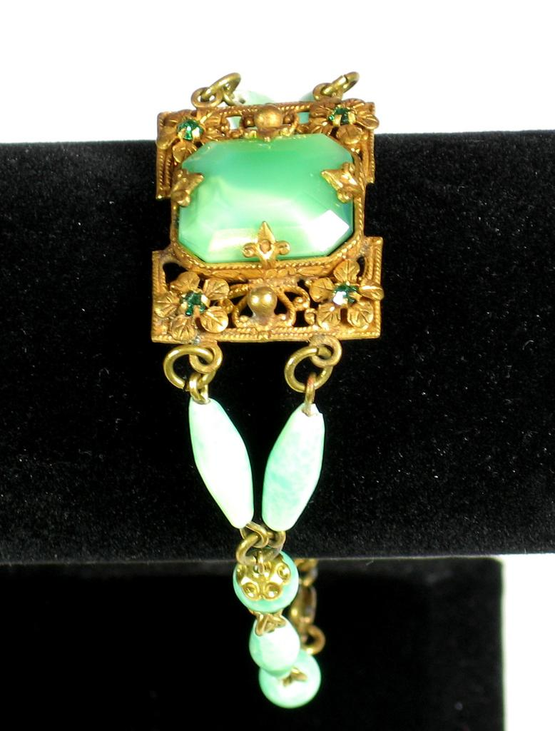 Vintage Signed Czech Peking Glass Bracelet