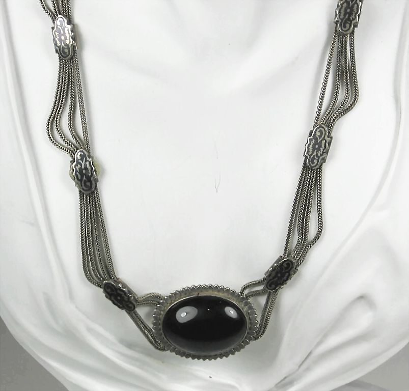 Vintage Egyptian 900 Silver and Black Glass Festoon Necklace