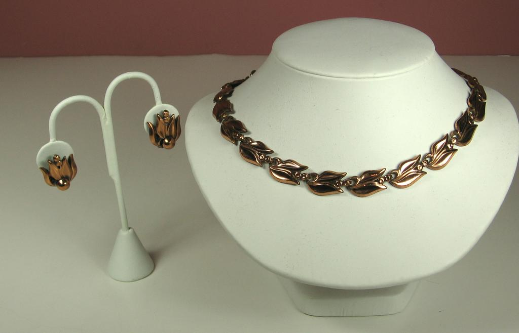 Vintage Matisse Renoir Copper Necklace and Earrings Set