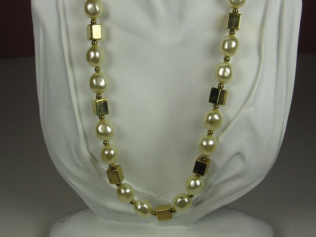 Napier Imitation Pearl and Plastic Beaded Necklace