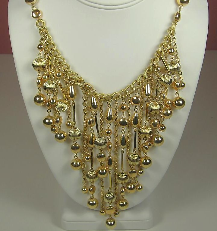 Gold Tone Metal Bead Japan Bib Style Necklace