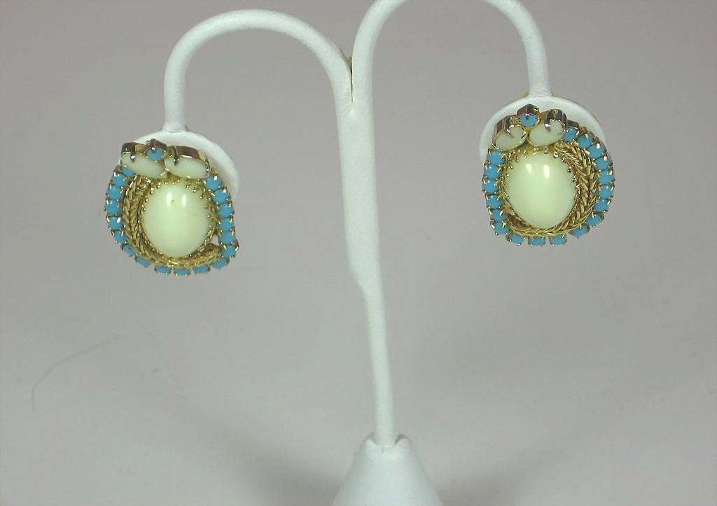 Hobe Turquoise and White Glass Earrings
