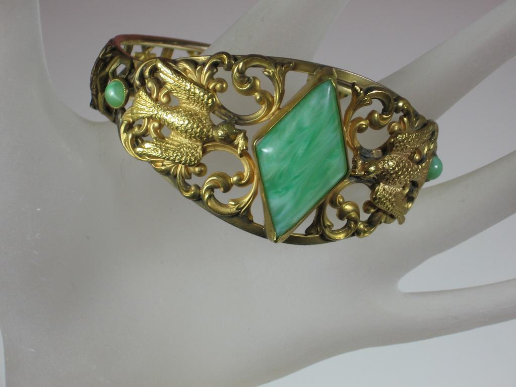 J.H. Malachite and Gold Plated Metal Bracelet