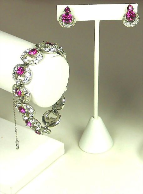 Vintage Bogoff Pink Rhinestone and Rhodium Plated Metal Bracelet and Earrings Set