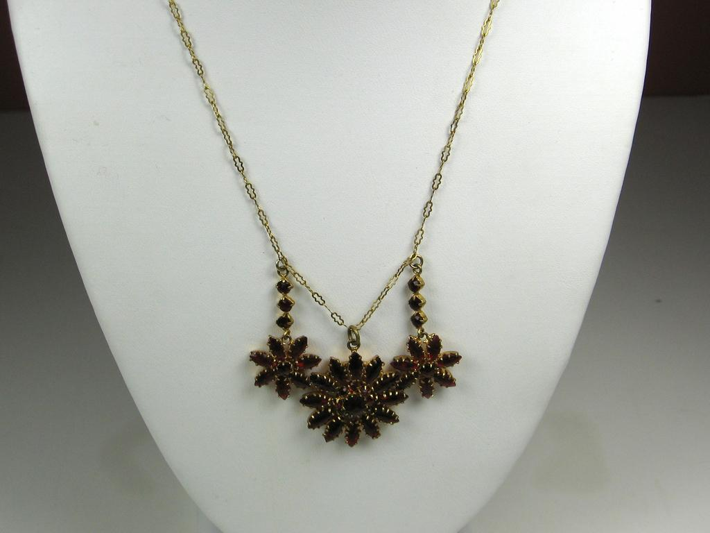Vintage Czech Deep Red Garnet Necklace