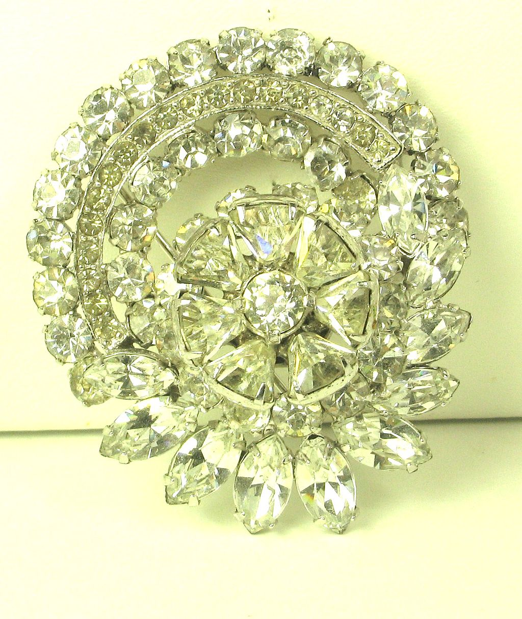 Eisenberg Rhodium Plated Metal and Rhinestone Pin