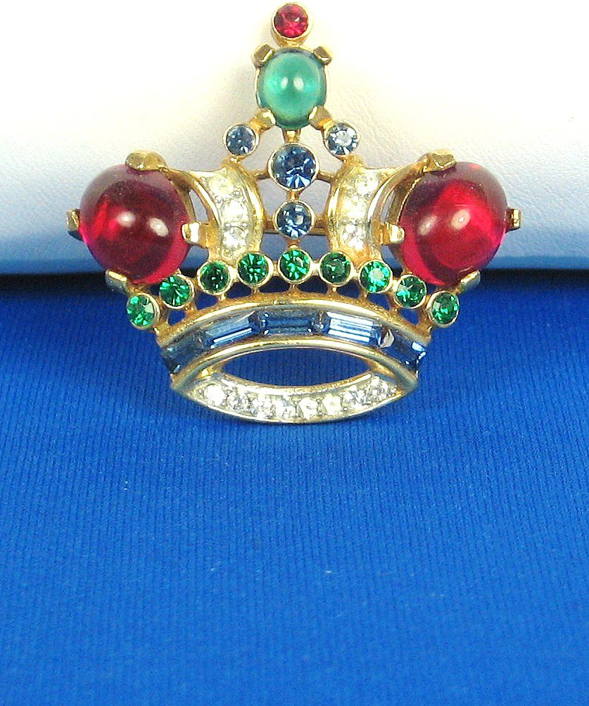 Vintage Trifari Red and Green Glass Cabochon Crown Pin
