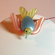 Vintage Art Deco Pastel Colored Celluloid Bird Pin