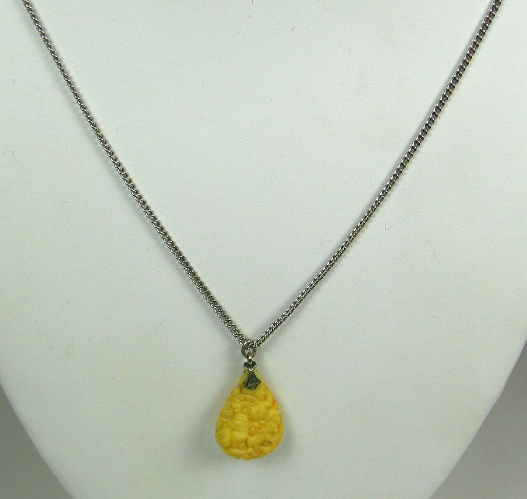 Vintage 925 Sterling and Carved Yellow Celluloid Necklace