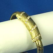 Vintage Selini Gold Tone Metal Pave Rhinestone Bracelet