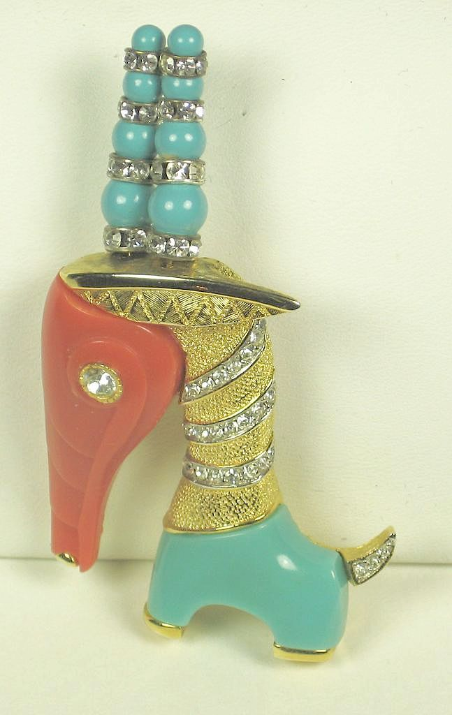 Hattie Carnegie Coral and Turquoise Plastic Giraffe Pin
