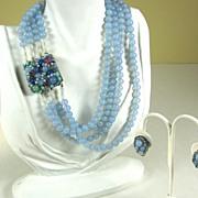 Coppola e Toppo Light Blue Necklace and Earrings Demi Parure