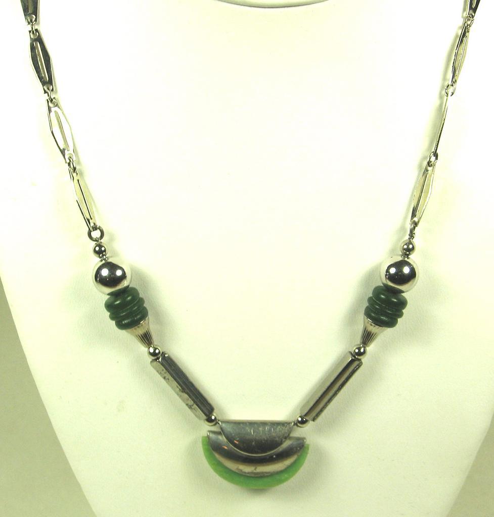 Jakob Bengel Machine Age Galalith and Chrome Necklace