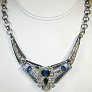 McClelland Barclay Chrome Metal and Sapphire Glass Necklace