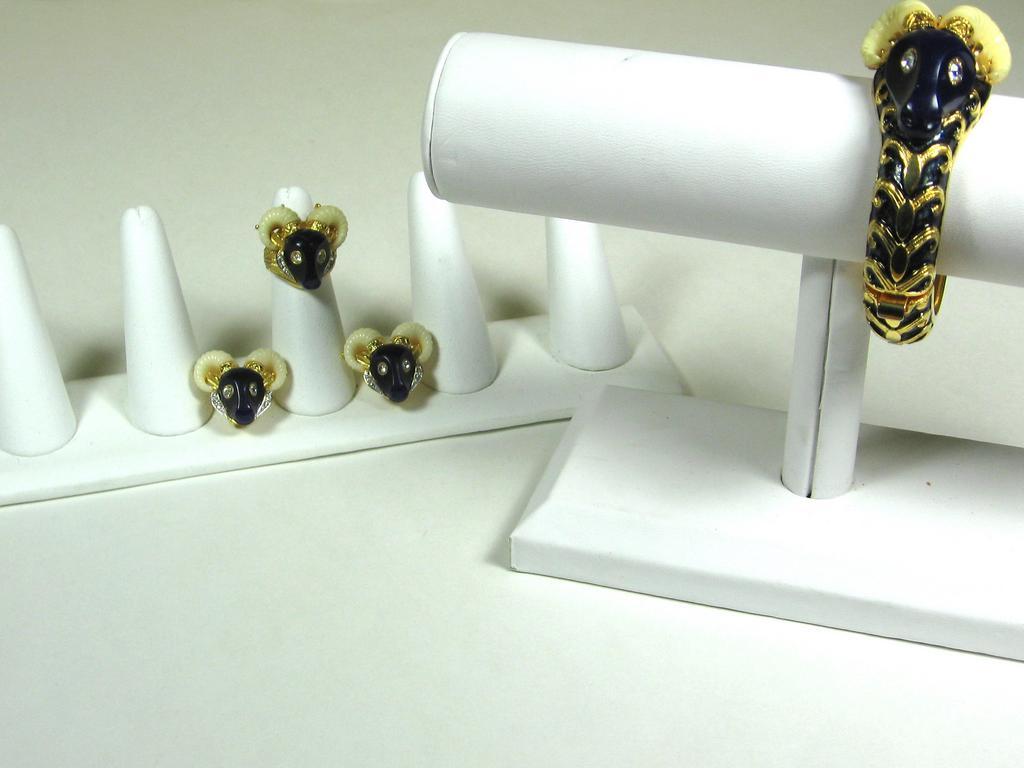 Hattie Carnegie Rams Head Bracelet, Ring, and Earrings Set