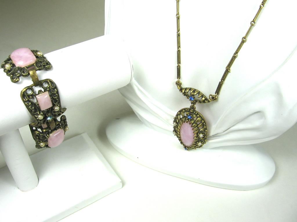 Pink and Brass Necklace and Bracelet with Imitation Pearls