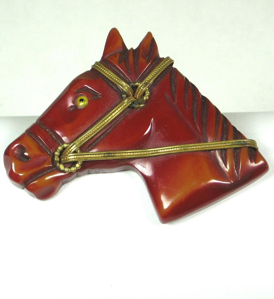 Vintage Red Bakelite Horse Pin-NR