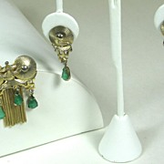 Denbe Marbled Green Glass Pin and Earrings Set