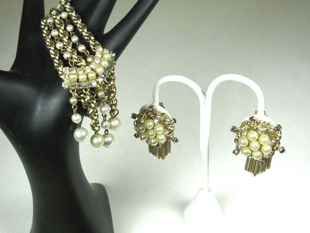 Hobe Bracelet and Earrings Demi Parure with Imitation Pearls