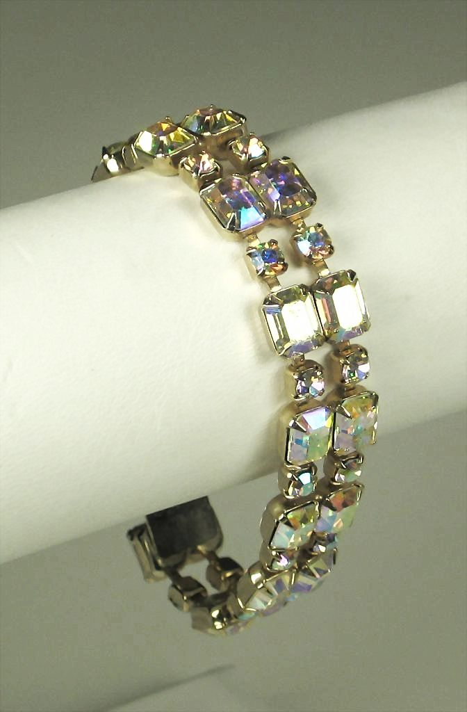 vintage weiss aurora borealis rhinestone bracelet sold on ruby lane. Black Bedroom Furniture Sets. Home Design Ideas