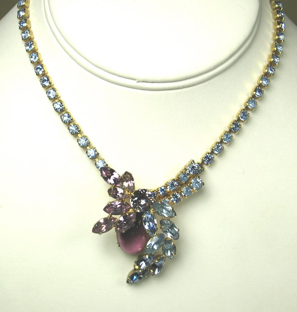 Vintage Light Blue and Amethyst Rhinestone Necklace