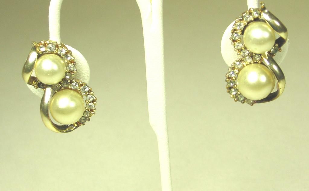 Vintage Imitation Pearl and Rhinestone Earrings by Coro