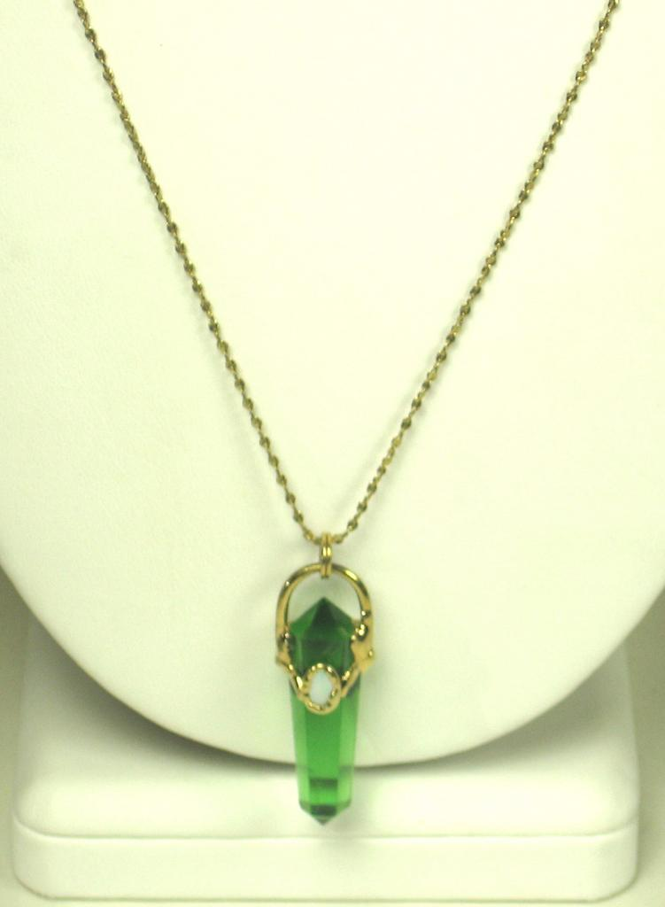 Unique Vintage Crystal Glass and Opal Necklace