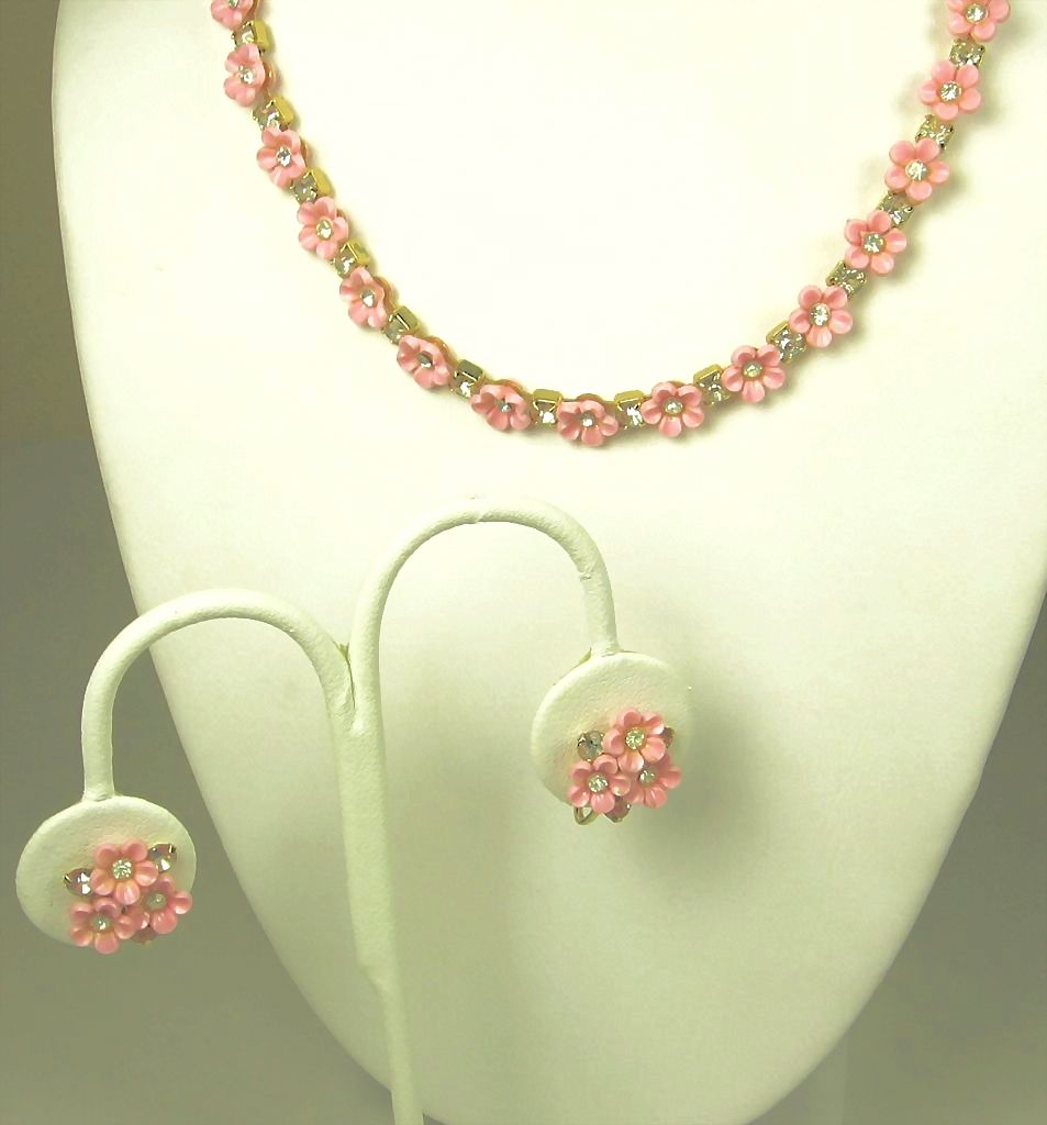 Vintage Coro Pink Flower Necklace and Earrings