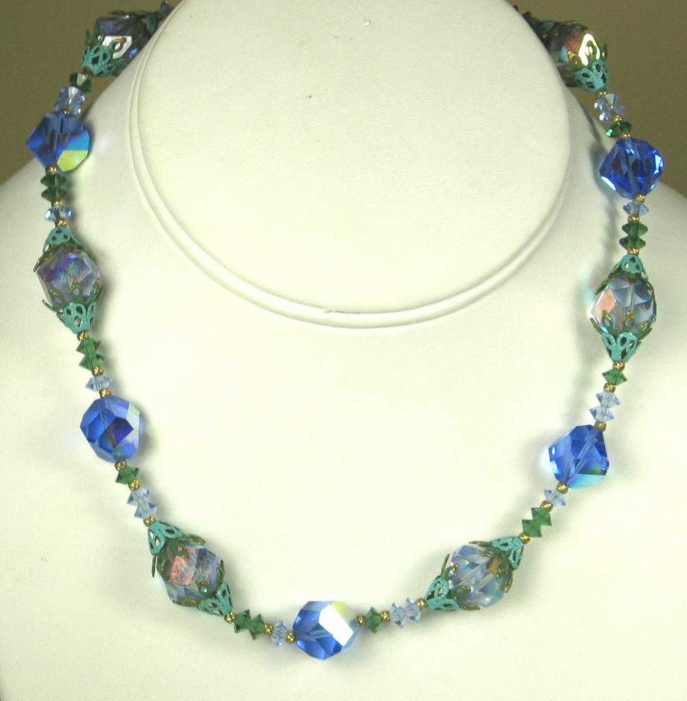 Vintage Vendome Glass and Filigree Metal Necklace