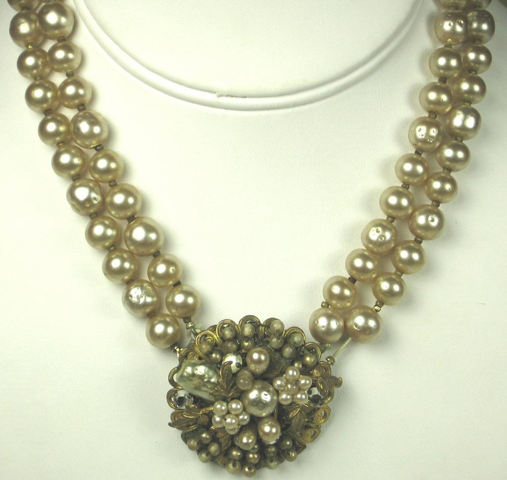 Robert DeMario Imitation Pearl and Rhinestone Necklace