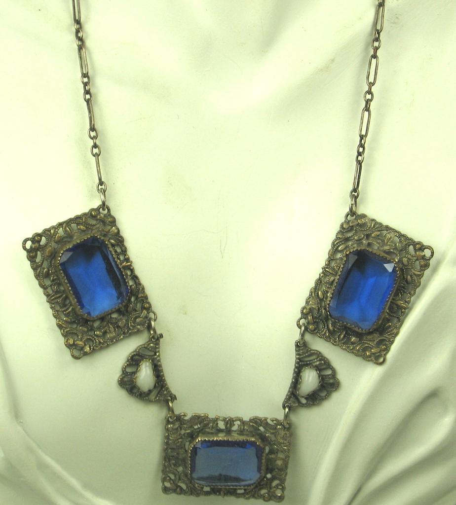 Antique Victorian Early 1900s Simulated Sapphire Necklace