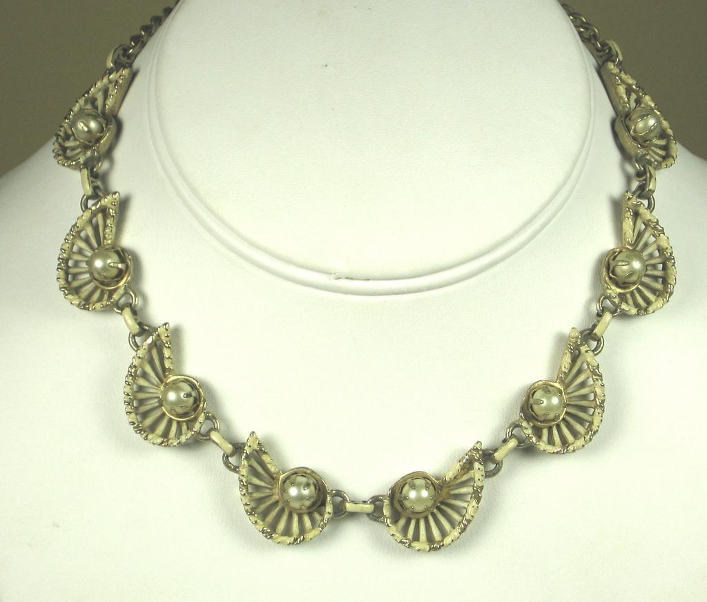 Vintage Enamel and Imitation Pearl Necklace