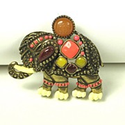 Rare Vintage Hattie Carnegie Elephant Pin