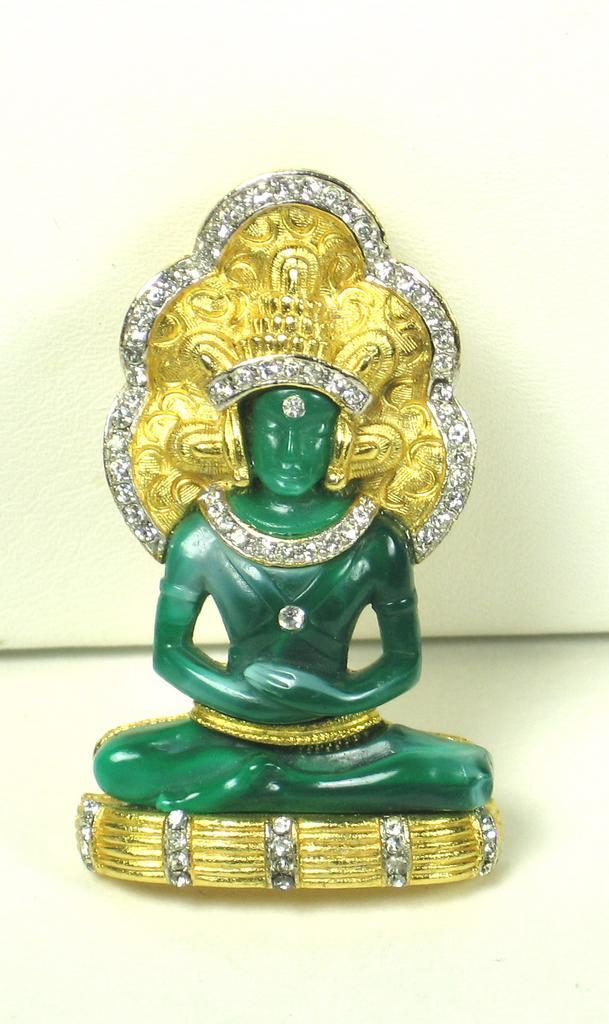Hattie Carnegie Green Glass and Rhinestone Buddha Pin