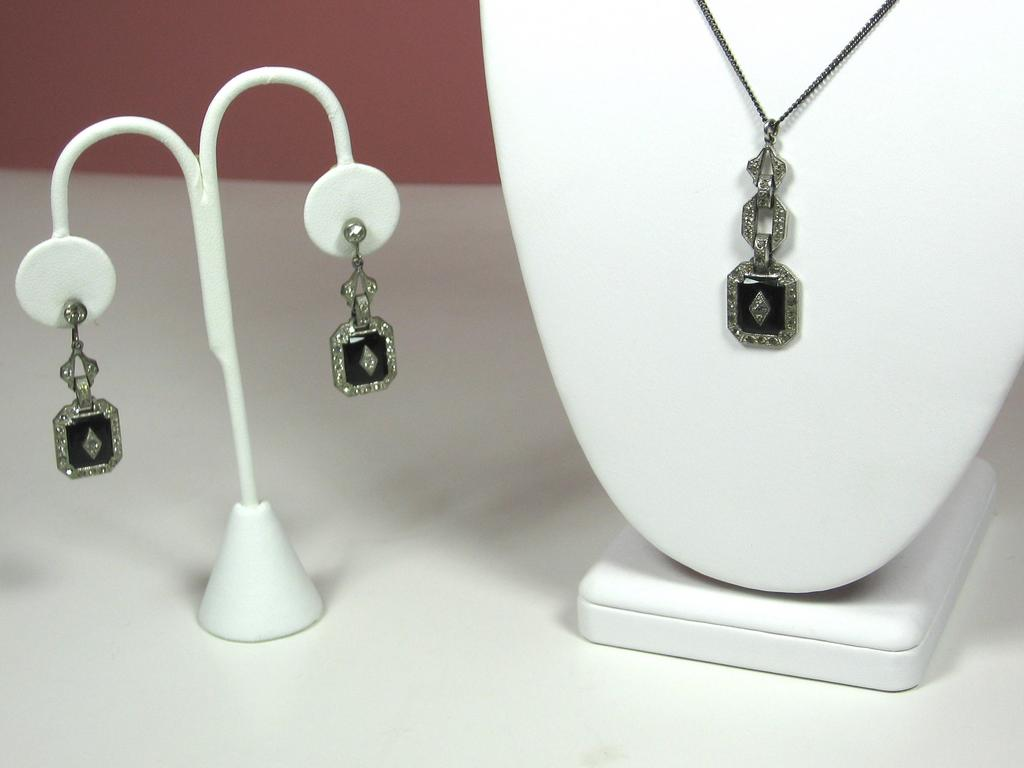 Vintage Sterling and Black Glass Necklace and Earrings