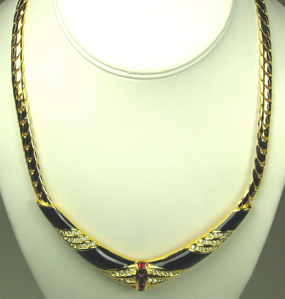 Christian Dior Gold Tone Metal and Rhinestone Necklace