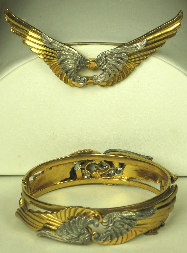 Rare Retro Wings Pin and Bracelet by McClelland Barclay